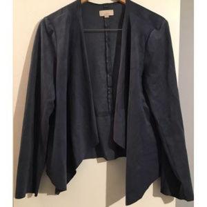 Loft Waterfall Faux Suede Open Cardigan Jacket 12